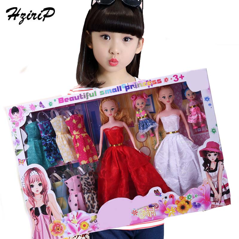 HziriP New Arrivals Fashion Girls Doll Sets Pretend Play With Dress Clothes Princess Reborn Dolls Accessories Toys For Kids Gift