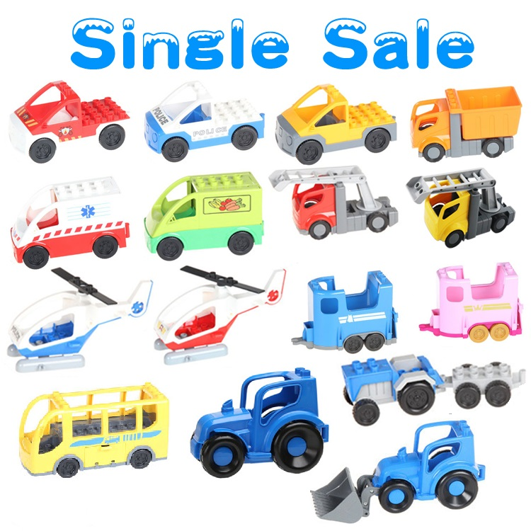 Classic City Traffic Series Big Building Blocks DIY Assemble BUS Car Toys Compatible with Duplo Sets Baby Enlighten Gift Bricks umeile brand farm life series large particles diy brick building big blocks kids education toy diy block compatible with duplo