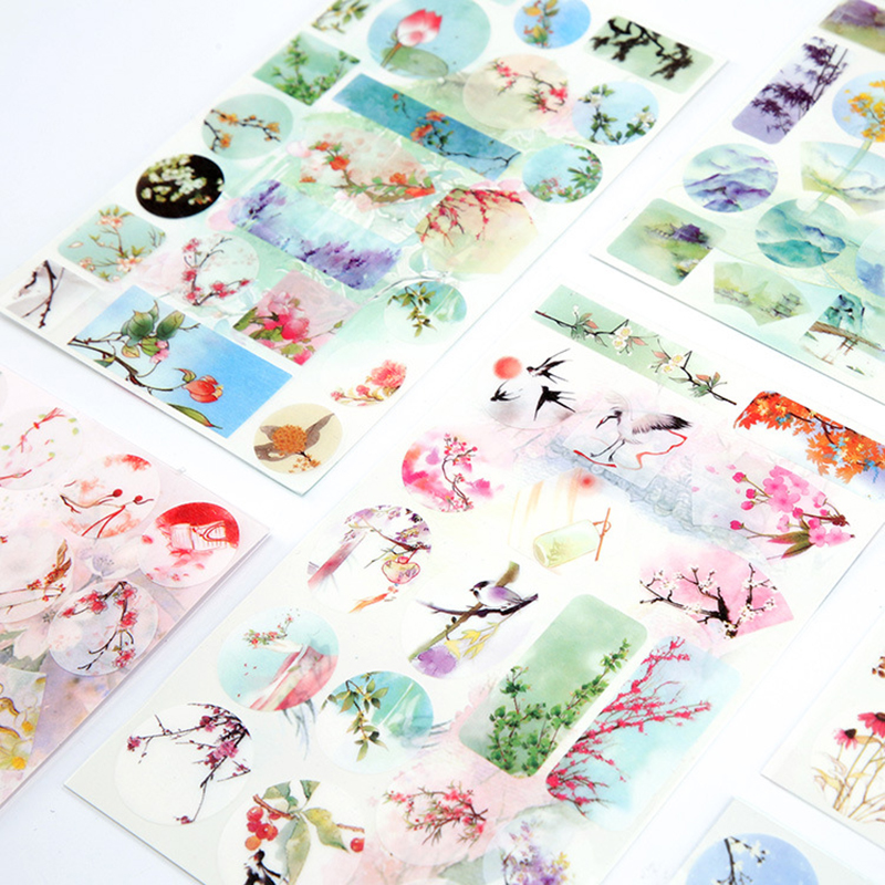 Creative Watercolor Painting Decorative Diy Diary Stickers  Kawaii Planner Scrapbooking Sticky Stationery School SuppliesCreative Watercolor Painting Decorative Diy Diary Stickers  Kawaii Planner Scrapbooking Sticky Stationery School Supplies
