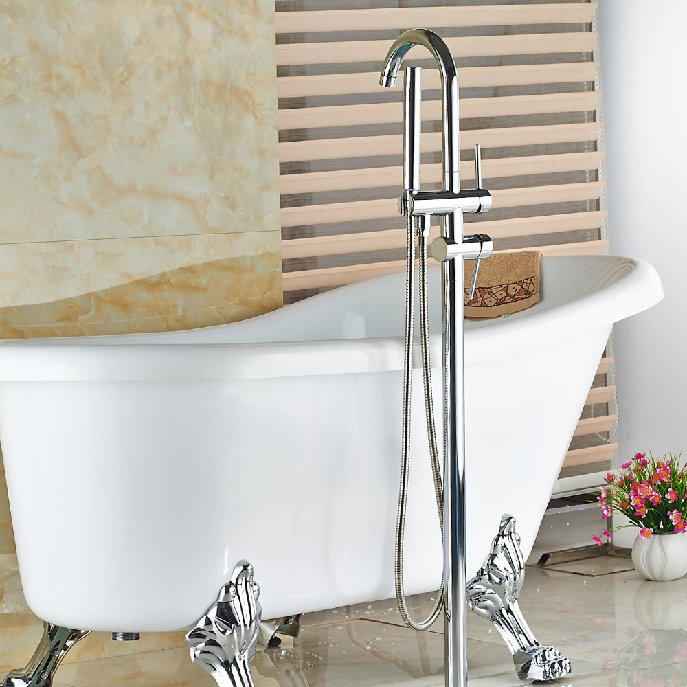 Wholesale And Retail Floor Mounted Chrome Brass Bathroom Tub Faucet Swivel Spout Tub Filler W/ Handheld Shower wholesale and retail promotion deck mounted chrome brass waterfall spout bathroom tub faucet w hand shower