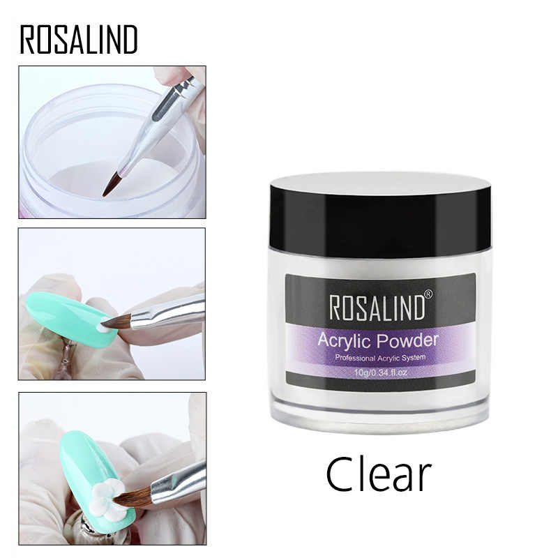 ROSALIND 3D 10g Schilderen Acryl Poeder Crystal Nail Art Tips Builder Transparant Acryl Nail Poeder Manicure Roze Wit Clear