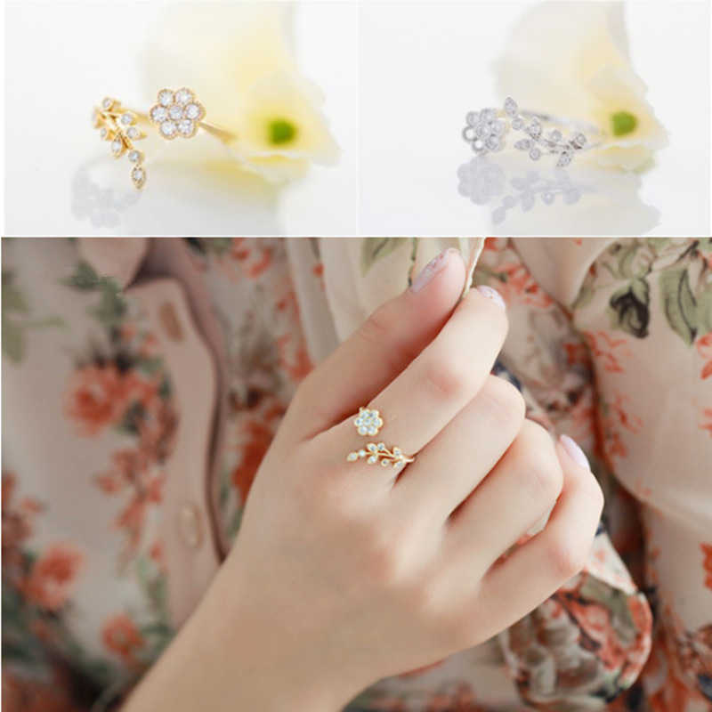 Korean fashion style crystal ring twisted leaves wishful flowers open ring Extravagance female index finger ring