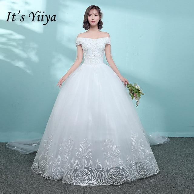 33a3ce12567d8 US $95.55 40% OFF|It's YiiYa Boat Neck Floor length Wedding Dresses Elegant  Shawl Lace Brides Gowns Illusion Vestidos De Novia Casamento HX027-in ...