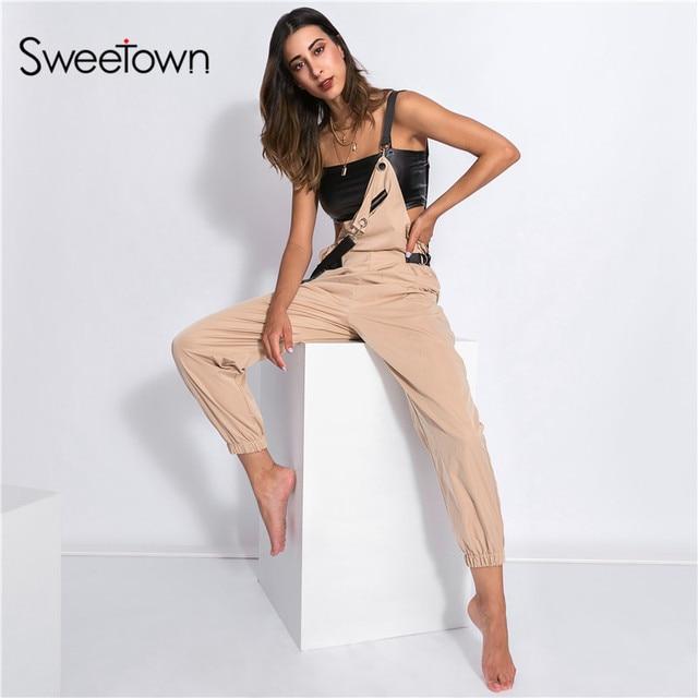 eaf3d2887cb Sweetown Black Long Jumpsuit Women Blue Street Style Combinaison Pantalon  Femme Green Overalls Khaki Jumpsuits For