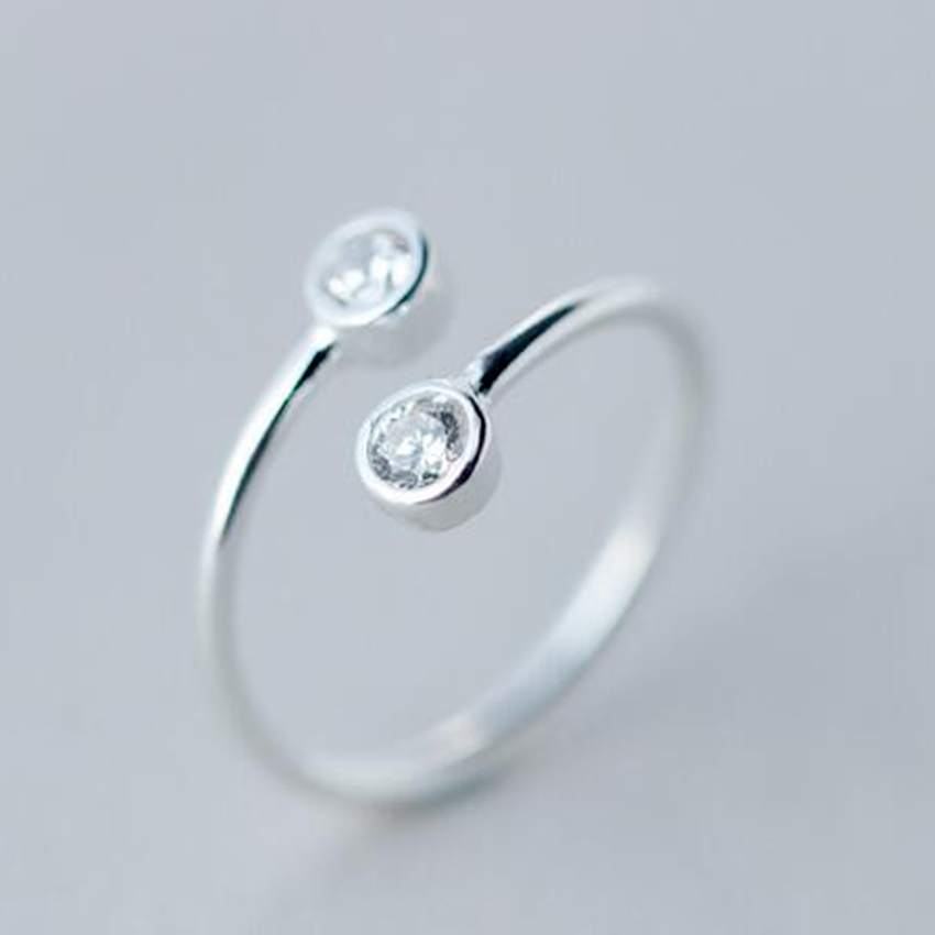 QIMING Pure Silver Crystal Ring For Women Wholesale Fine Jewelry Adjustable Double Rounds CZ Ring Open Midi Toe Rings