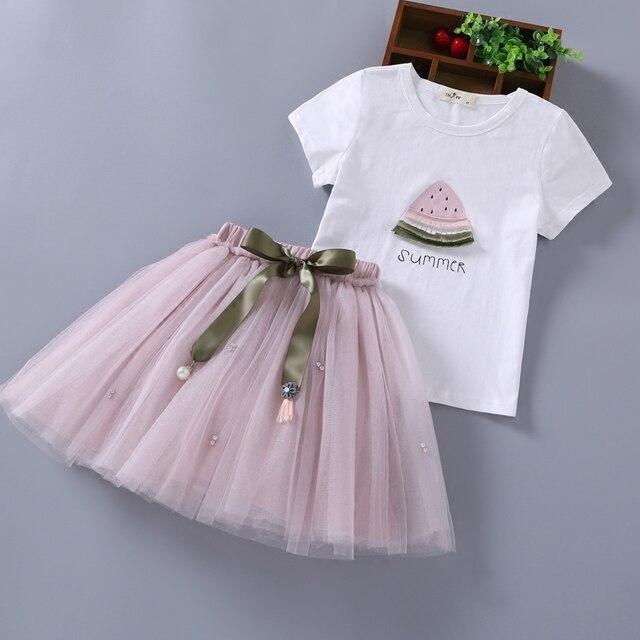 2019 nuevos conjuntos de ropa para niñas adolescentes ropa de verano a la moda conjunto de camisetas blancas para niños + faldas tutú Vetement Enfant Fille