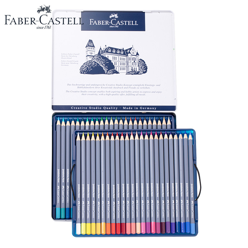 цена на Original Faber Castell Watercolor Pencil Goldfaber Aqua Tin 12/24/36/48 Color Water Soluble Pencils Art Supplies for Drawing