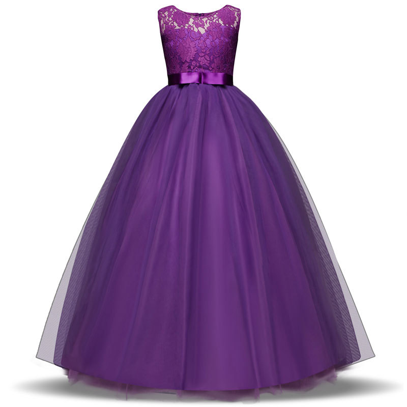2018 Summer Kids Flower Girls Dresses for Teenagers Girl Wedding Ceremony Party Prom Dress Girls Clothes for 9 10 12 13 14 years 4 15y little big girls clothes rustic flower girl wedding occasion junior bridesmaid kids cocktail dresses for 14 year girls