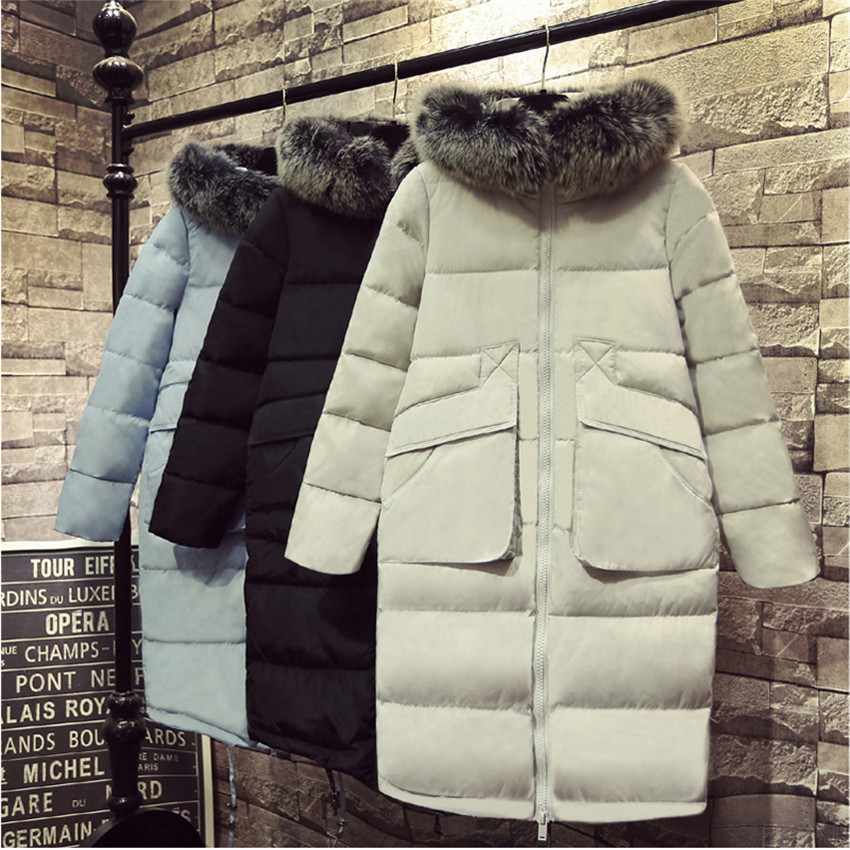 Women Midi Long Down Coat Big Size Jacket White Duck Hooded Coats Female Thick Winter Outerwear White,XL,
