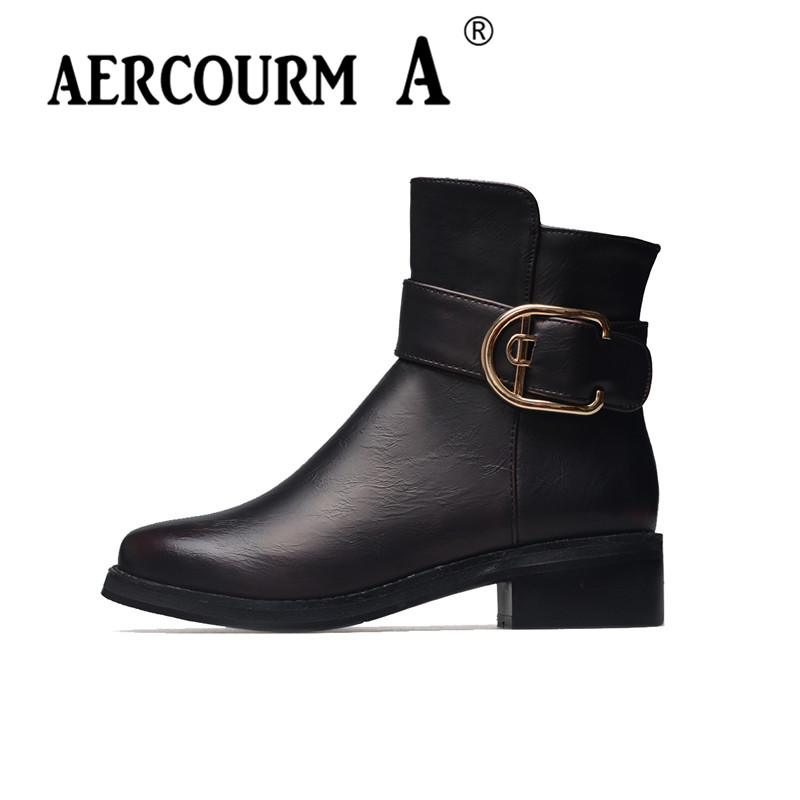 Aercourm A 2018 Women PU Ankle Boots Women Winter Martin Boots Short Plush Shoes Lady Working Red Black Brown Shoes Metal Martin