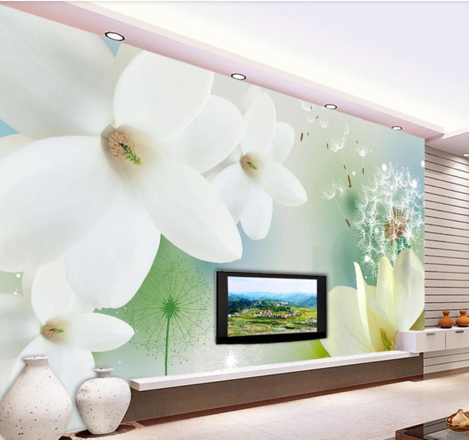 Custom 3d Mural Wallpaper Simple dandelion white magnolia flower TV background wall 3D Wall Mural Wallpaper