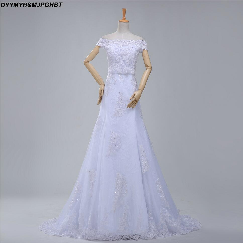 Detachable Cathedral Train Wedding Gown: Beautiful Design Bridal Gowns Off Shouldere Chapel Train