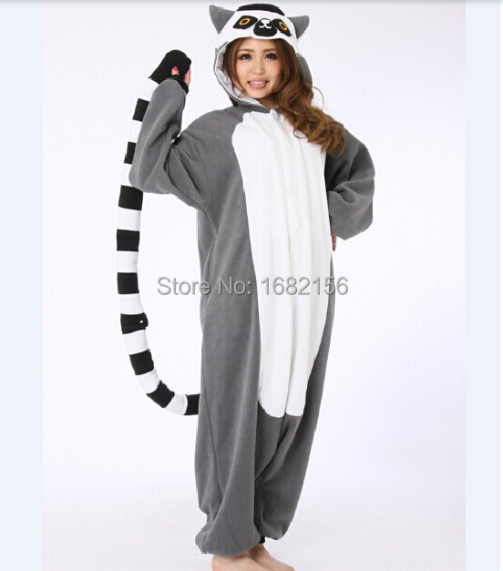 Women's Sleepwears Underwear & Sleepwears New Animal Onesies Kingurumi Lemur Pajamas Women/men Long Tail Monkey Flannel Winter Pajama Halloween Christmas Costume