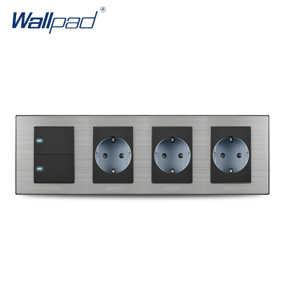 2018 Wallpad Hot Sale 2 Gang 2 Way Switch With 3 EU Socket Schuko Luxury Wall Electric Power Outlet German Standard 308*86mm