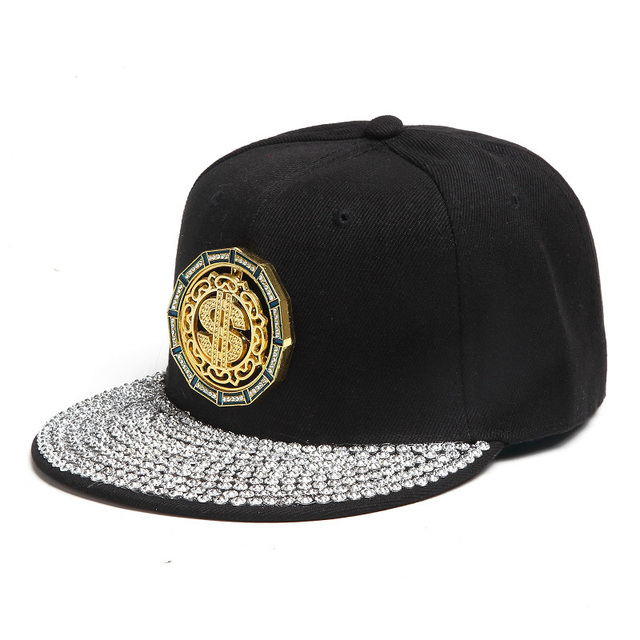 Hip Hop Snapback Baseball Caps with Rhinestone for Men and Women Spring Bone Hat Adjustable Black Outdoor Casual Cap Unisex