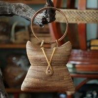 25x16CM Creative Handbag Bag Retro Hand Roll Female Bag Rattan Woven Art Fine Bamboo Basket Bag