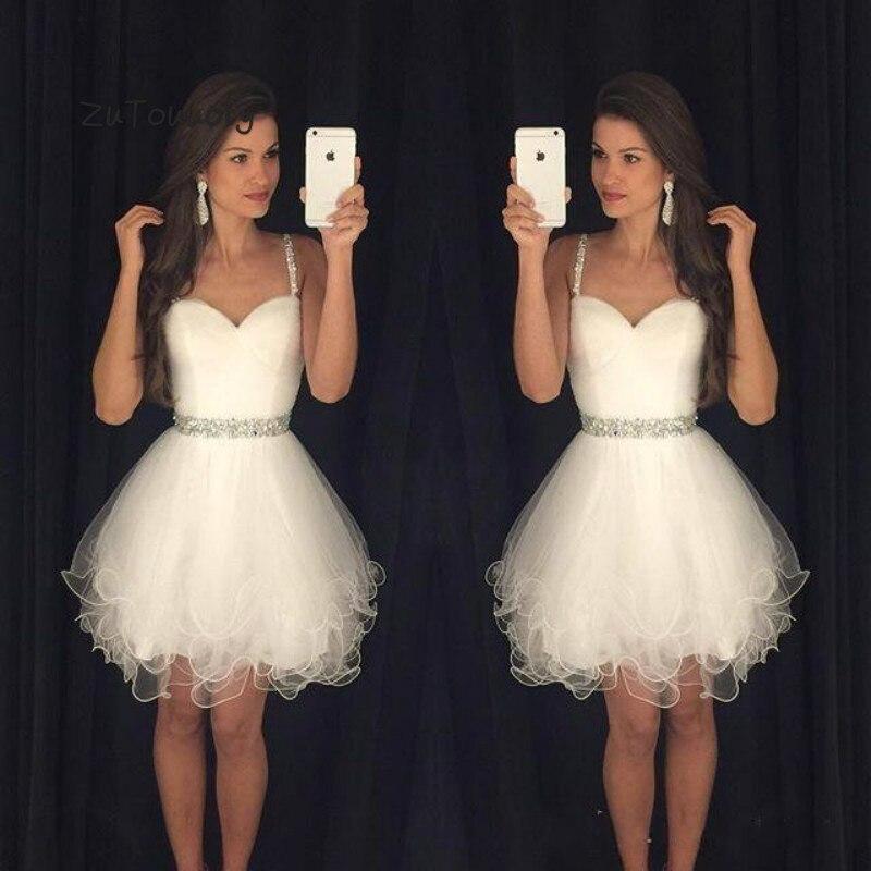 Offre spéciale robe de bal courte blanche bretelles Spaghetti volants perles Graduation robes de bal pour les adolescents robes de soirée courtes