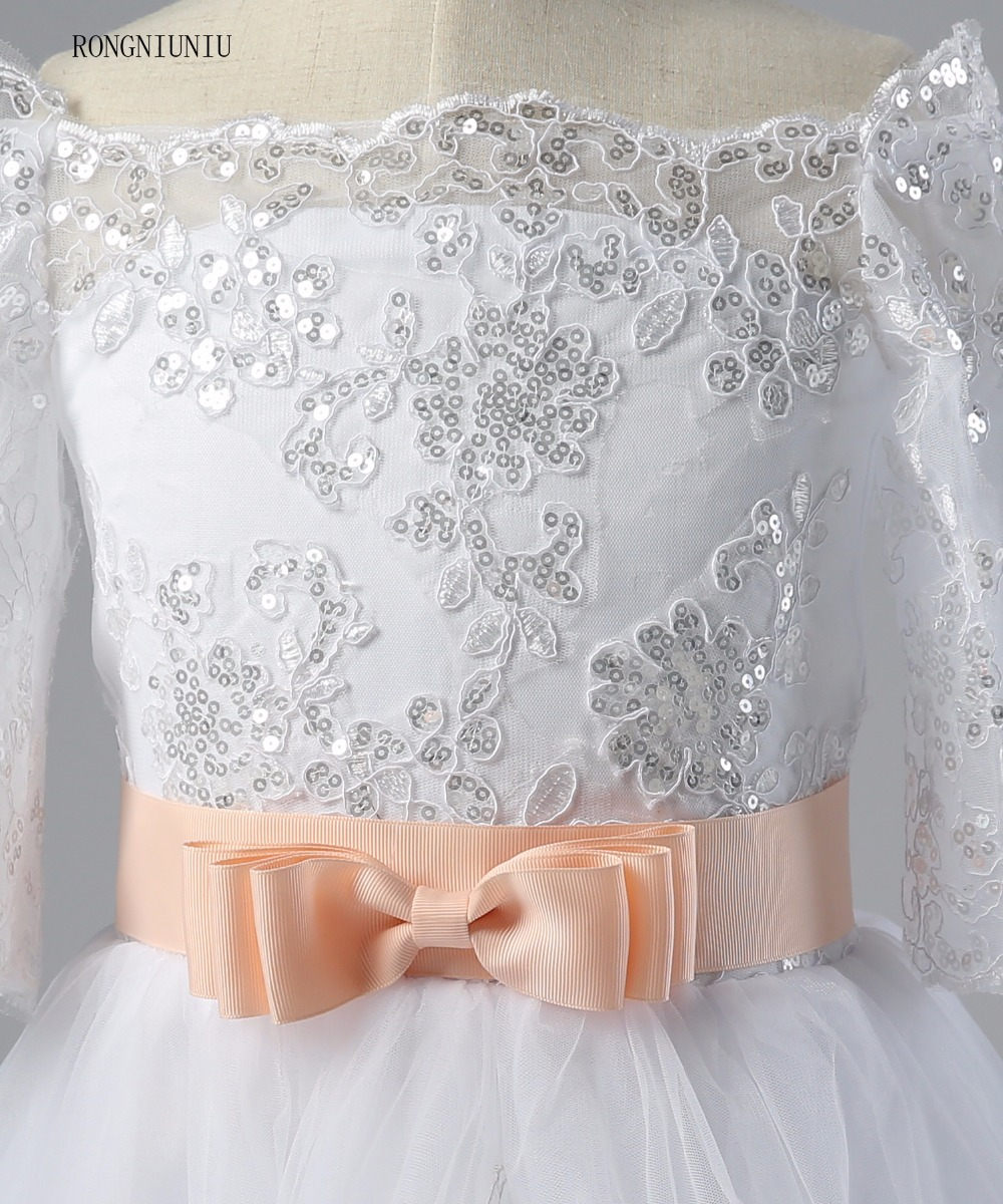 Flori rochie de fata 2017 Lace Up Pinke centura rochie de balet - Rochii de seară de nuntă - Fotografie 5