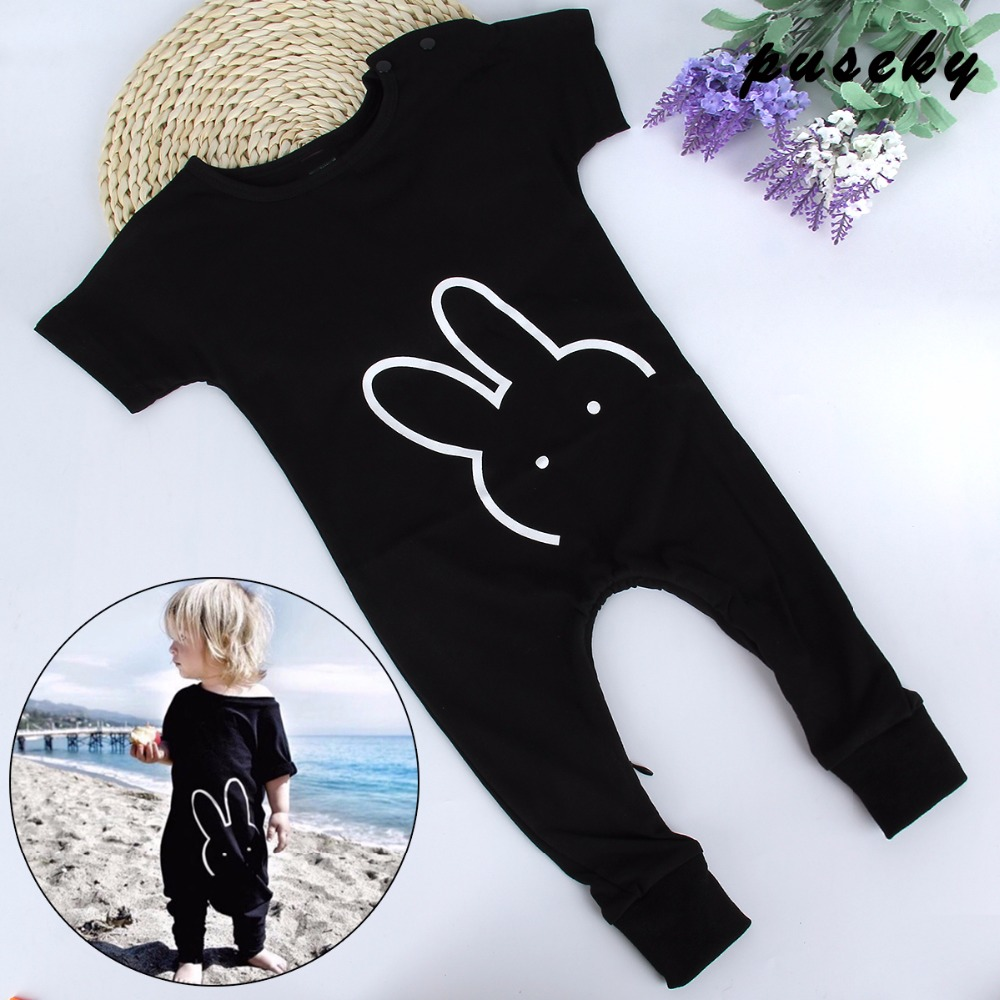 2017 New Fashion Newborn Toddler Baby Rompers Black Short Sleeve Cartoon Rabbit Jumpsuit Infant Clothing Baby Boy Girl Clothes cotton baby rompers infant toddler jumpsuit lace collar short sleeve baby girl clothing newborn bebe overall clothes h3