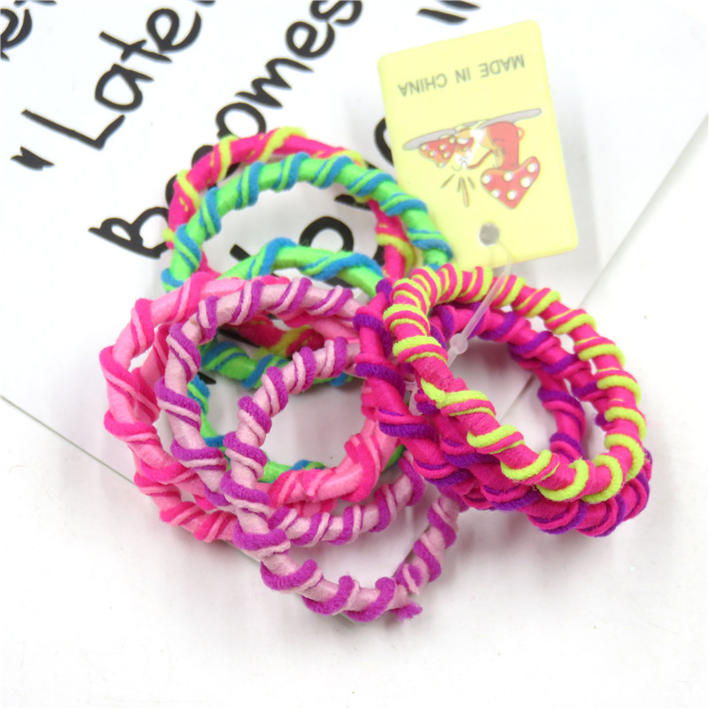 10PCS/1SET Pretty 3.5CM Colourful Elastic Hair Bands For Girls Handmade Hair Scrunchy Kids Creative Hair Accessories For Women