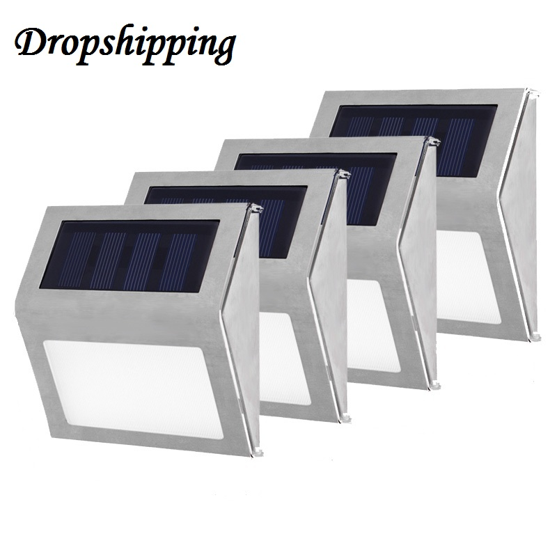 1-4pcs LED Solar Light Wall Lamp Stainless Steel Waterproof Garden Decoration Fence Stair Pathway Yard Security Light Solar Lamp 10pcs led deck light waterproof stainless steel recessed underground lamp dc12v spotlight stair pathway garden light