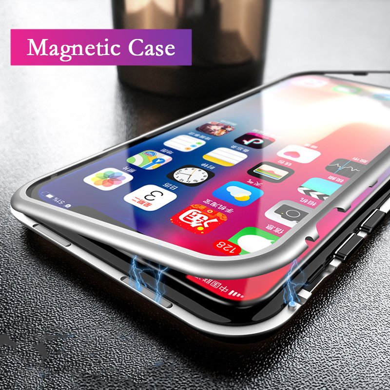 Luxury Magnetic Adsorption Case For iPhone 6 6s 7 Plus Clear Tempered Glass Back Cover Case For iPhone X 8 8 Plus Coque Capa
