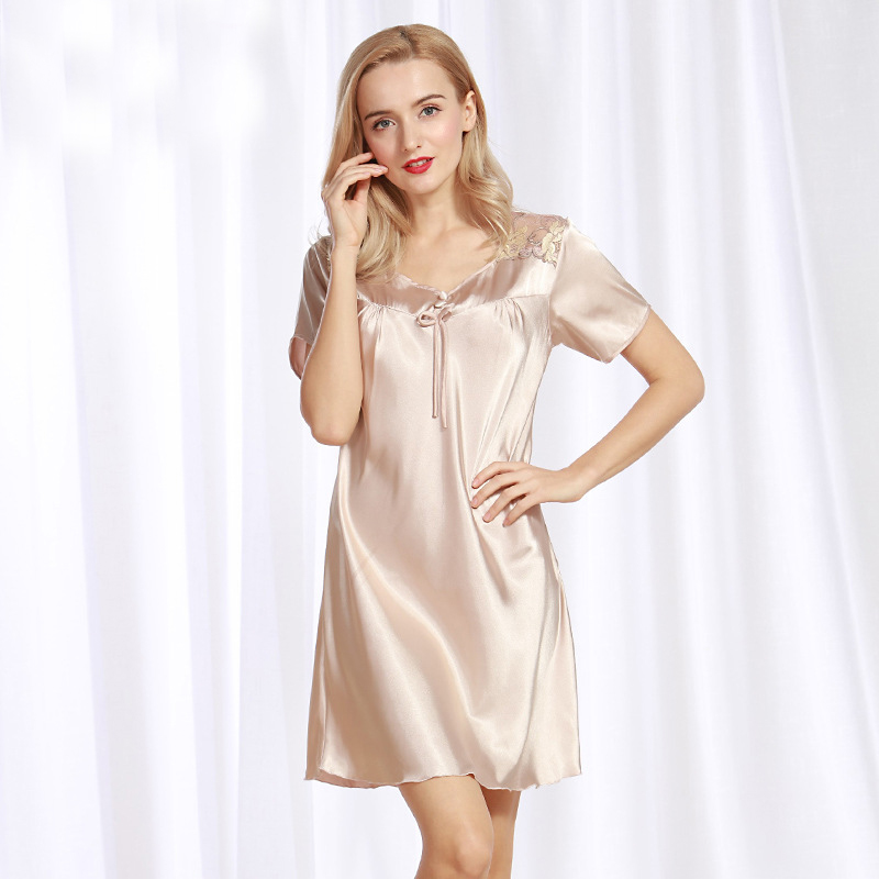 NG090 Sexy   Nightgown   Lingerie Satin Silk Nightdress Gown Women Nightwear Summer Lace Sleepwear Ladies Soft   Nightgown     Sleepshirts