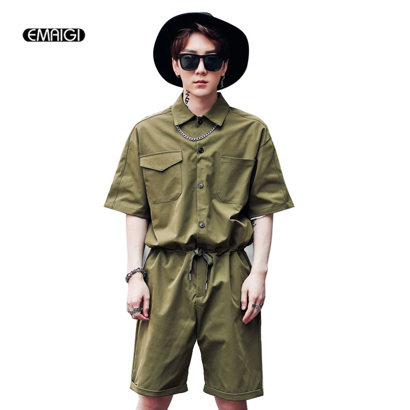 Men Jumpsuit Male Long Sleeve Cargo Pant A Piece Pants Overalls Tooling Hip-hop Casual Fashion Trousers Cargo Pants