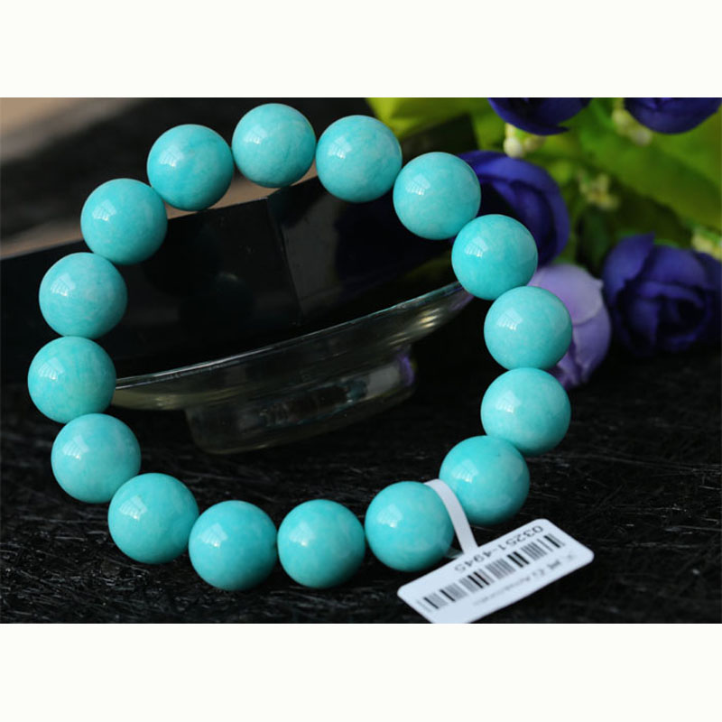 Discount Wholesale High Quality Genuine Natural Peru Blue Amazonite Stretch Finished Beaded Mens Bracelet Round Loose13mmDiscount Wholesale High Quality Genuine Natural Peru Blue Amazonite Stretch Finished Beaded Mens Bracelet Round Loose13mm