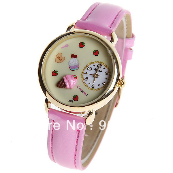 Free shipping New Fashion 3D flower series sweet cute Girl's watch Genuine Leather Quartz Ladies watch Gift
