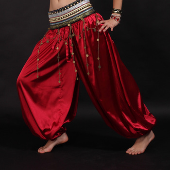 Women Belly Dance Costume Indian Dance Trousers Tribal Bloomers Pants Belly Dance Yoga Women Men Loose Pants Red indian princess belly dance tulle feather party mask