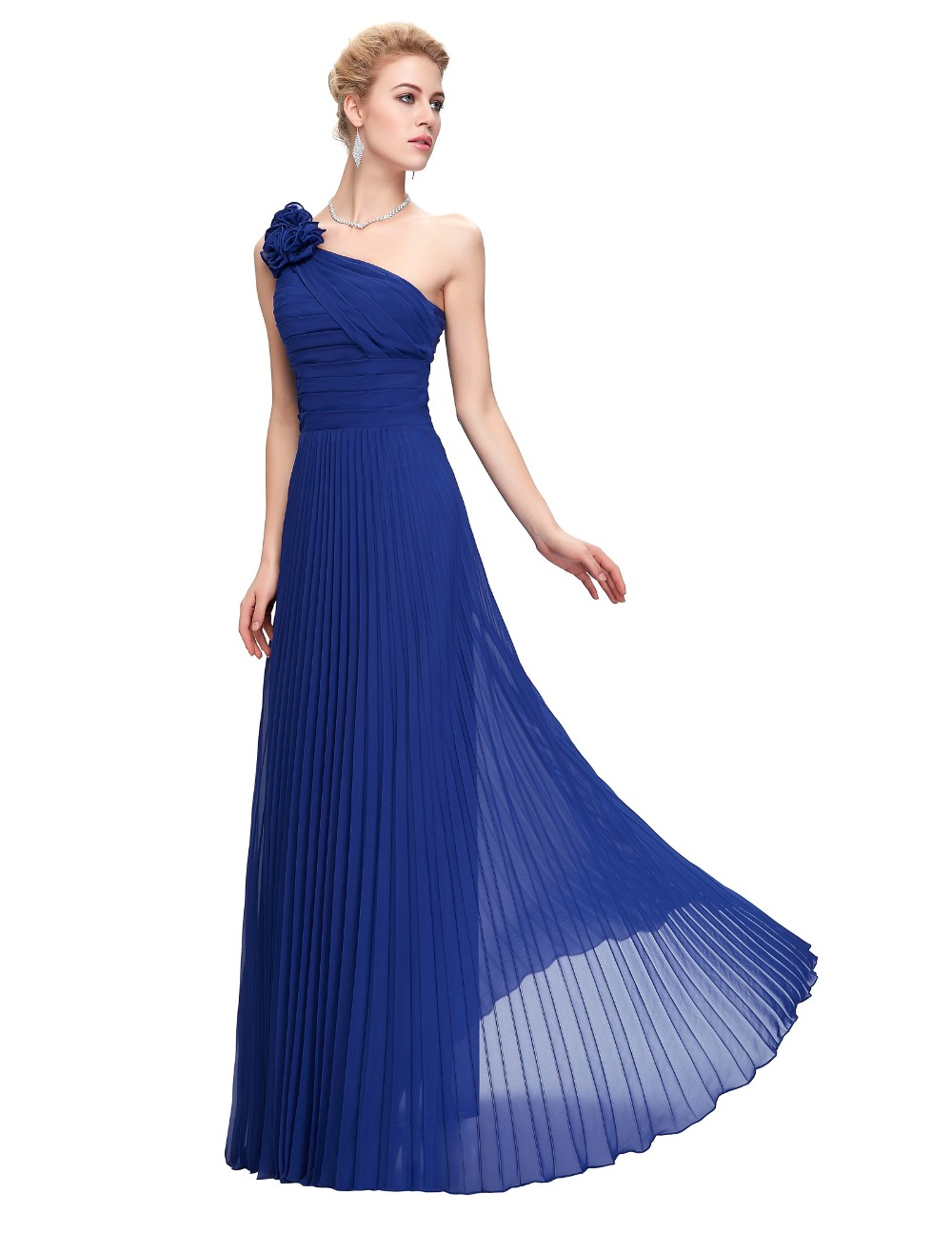 Grace Karin Chiffon Long Evening Dress One Shoulder Pleated Red Green Purple Royal Blue Formal Evening Dress Party Gowns 2018 7