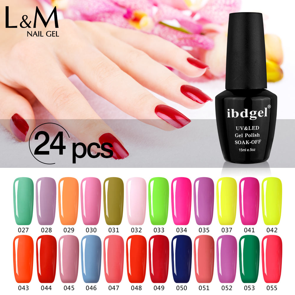 24 Pcs Free Shipping Gel Polish LED UV Nail color gel foundation Top it off Gel