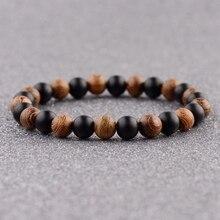 DOUVEI 2018 Ethinc Yoga Wood&Black Stone Beads Bracelets Men Meditation Yinyang Elastic Bracelet Women Prayer Jewelry ABJ036
