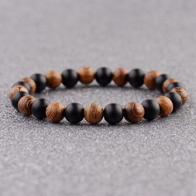 DOUVEI Bracelets élastiques de Yoga, pour hommes et femmes, perles en bois et en pierre noire, élastique, pour méditation, Yinyang, bijoux de prière, ABJ036, 2018