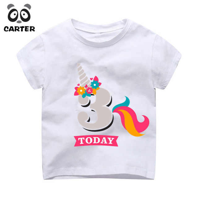 Boy And Girl Happy Birthday Number Cute T Shirt Children 3th Today Unicorn