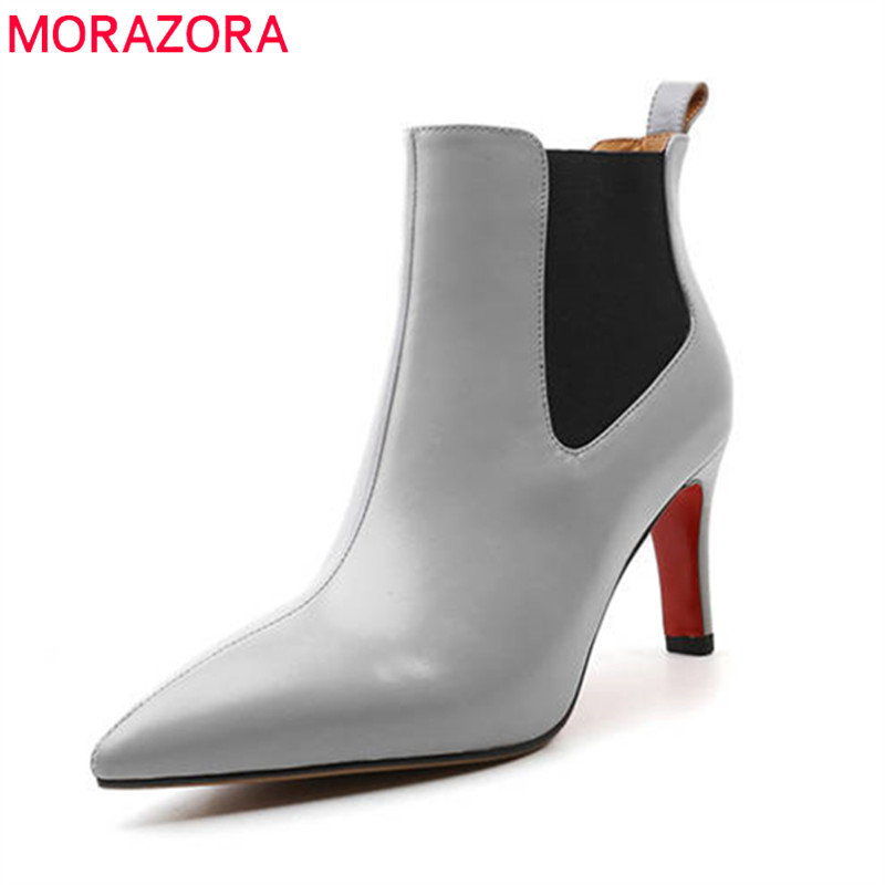 MORAZORA 2018 new fashion ankle boots genuine leather spring autumn ladies shoes slip on elegant sexy high heels boots female mcckle 2017 ladies fashion sexy autumn winter ankle boots female slip on zip black solid platform high heels plus size34 43