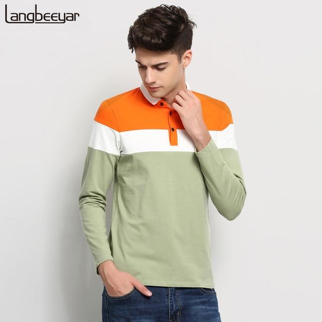 2017 nuevos hombres de la moda camisa de polo marca feather print delgado fit polos camisa de polo de los hombres de manga larga casuales de alta calidad para hombre ropa