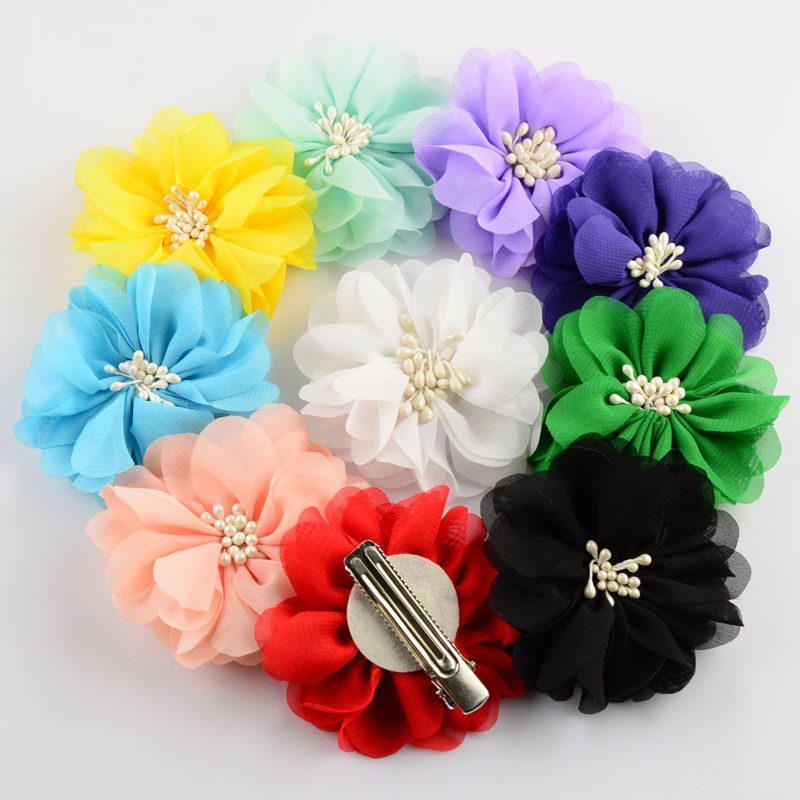 Hot New 8pcs/lot 20 Colors 2.76 Inch Boutique Artificial Chiffon Flowers WITH CLIP For girls Hair Beauty Accessories FC31