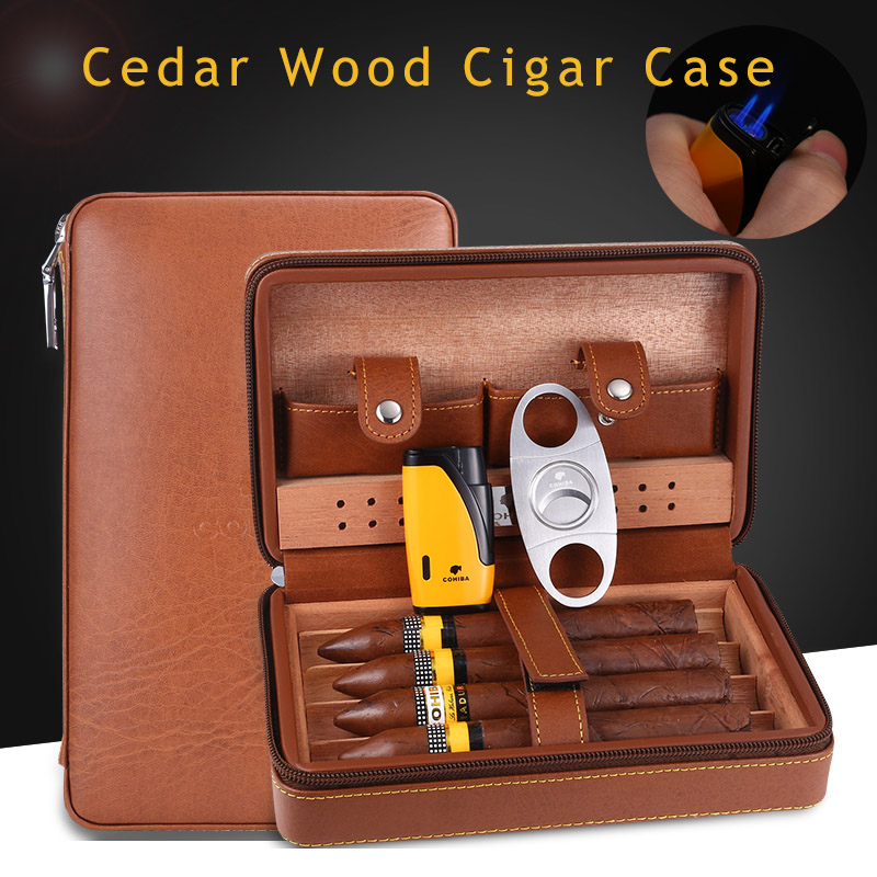COHIBA Portable Leather Travel Cigar Case Cedar Wood Lined Cigar Humidor with Torch Jet Flame Lighter