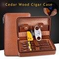 COHIBA portátil de cuero de viaje caja de cigarros de madera de cedro forrado humidificador de cigarros con antorcha de chorro de llama encendedor de Metal