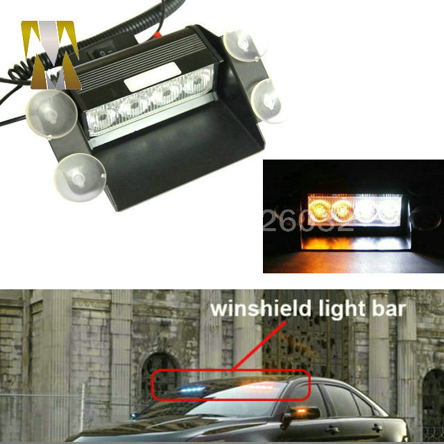 4 LED Strobe Flash Car Warning EMS Police Light Flashing Firemen Fog 8LED High Power Red Blue Amber White Free Shipping цена и фото