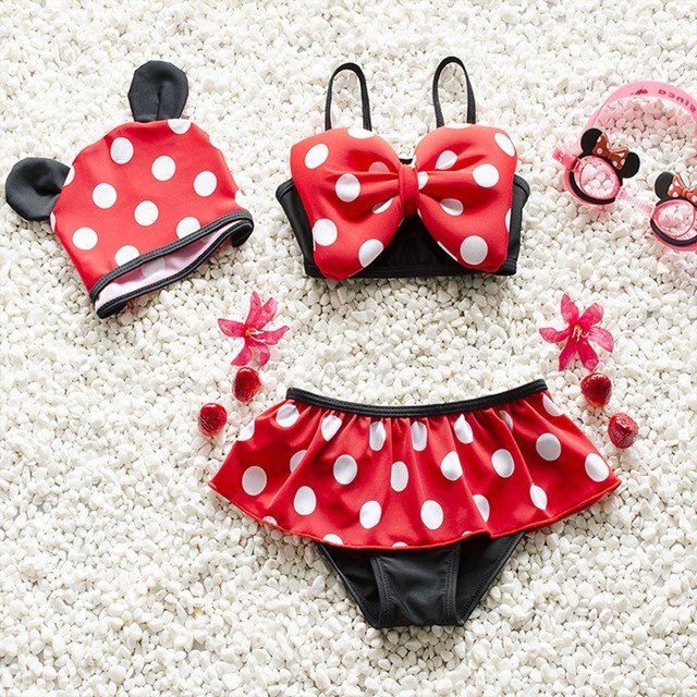 0ec21b103d Girls Minnie Mouse Swimwear Red Polka Dot Ruffle Swimsuit Bikini Swim With  Bow Baby Girl Toddler Beach Wear with Cap