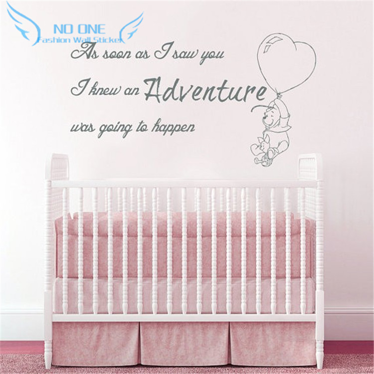 Aliexpress.com : Buy Winnie The Pooh Wall Decal Quote As Soon As I Saw You  I Knew An Adventure Was Going To Happen Wall Sticker Babys Nursery Art From  ...