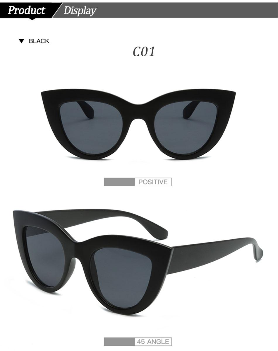 Black Classic Cat Eye Women Sunglasses Designer Brand Trend Style Glasses Adult Eyeglasses 5