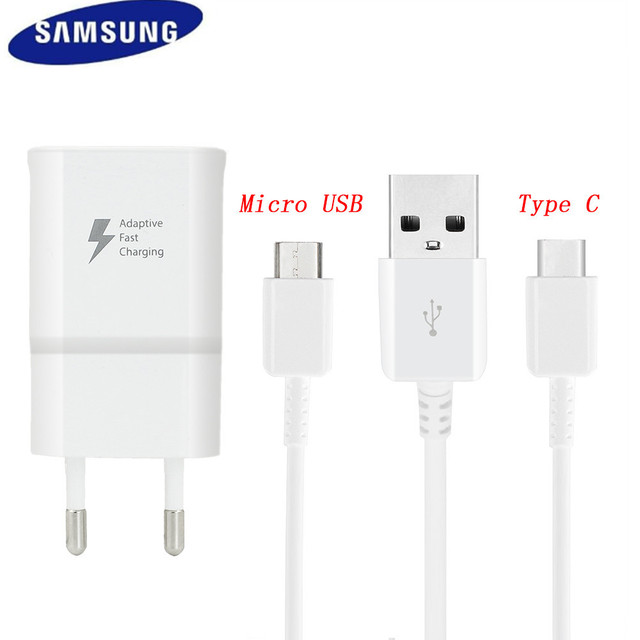 978f435be91 9V 1.67A USB Adaptive Fast Charge Adapter Original Micro/TYPE C Cable For  Samsung