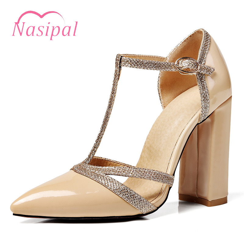 Nasipal Patent Leather Gladiator Women Spring Shoes T-strap Pointed Wedding Pumps Sexy Cut Outs Thick Heel Dress Party Shoes women chic champagne patent leather sandals square thick high heels pumps covered heel single strap gladiator shoes golden pumps