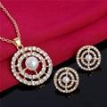 Trendy queen Bride Gold Plated Zircon Rhinestones water drop Pendant Necklace Earrings indian jewelry sets for women