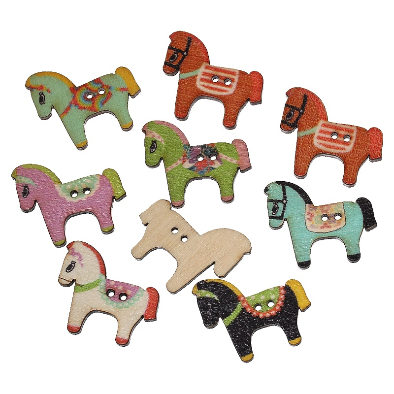 FUNIQUE 100PCs MIxed Color Cute Horse Craft Wooden Buttons 2-hole Sewing Scrapbook DIY Sewing Kid Clothing Accessories 3x2.5cm