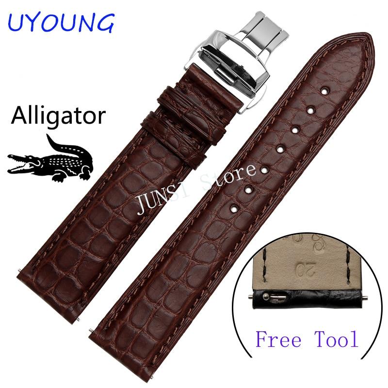 Bracelet de montre en cuir Alligator de qualité 22mm pour le temps des galets en acier/montre intelligente pour bracelet de montre de luxe pour hommes